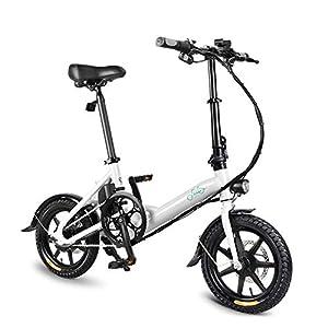 immagine di FIIDO D3 - Bicicletta Elettrica - Pieghevole Ebike-250 W, Bici Elettrica da 14 Pollici con Batteria agli Ioni di Litio da 36 V / 7,8 Ah (Bianco)