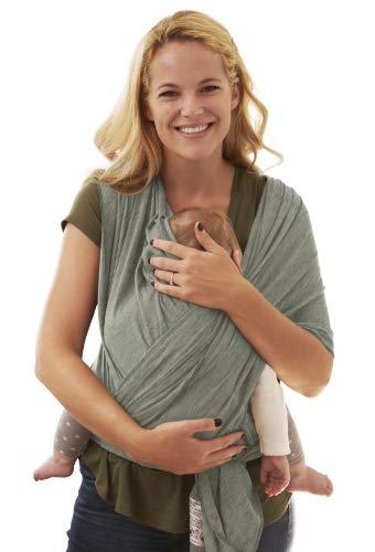 BabyChamp Babytragetuch für Neugeborene aus 95{6597774aefb4312f72fda5b3ff03821a54cd8dd007eb563a9c4f8c9ca57b389f} Natürlicher Bio Baumwolle in Grau | Elastische Kleinkindtrage (Ohne Binden)