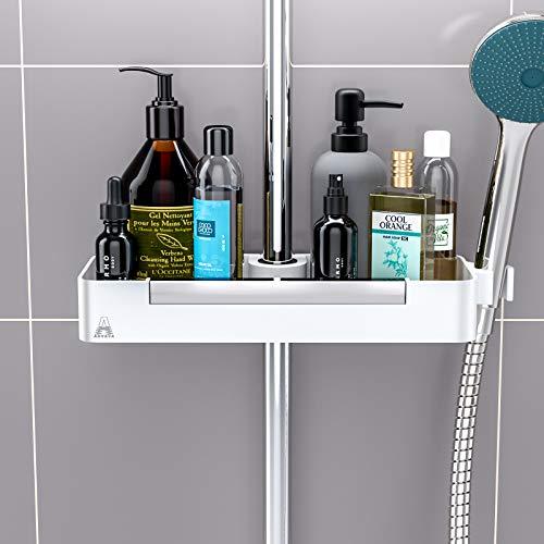 Shower Caddy Organizer Shelf, ANVAVA Bathroom Shelves Adjustable Bathroom Shower Riser Holder Organizer Rail Organizer Holder for Shampoo, Shower Gel, Conditioner