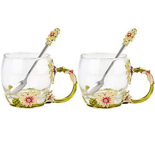 COAWG Taza Grande de Vidrio Esmaltado,Crisantemo Cristales de Cristal Claro Tazas de Té y Café con Mango de...