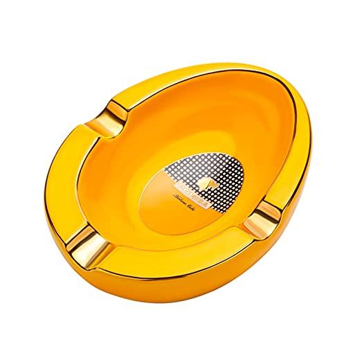 Cenicero para Cigarros Cerámica Decoración de Escritorio Oval Antideslizante Fácil de Limpiar para Interior y Exterior,Yellow