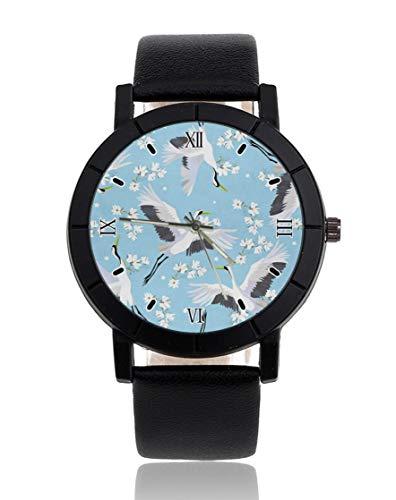 Japanische Kranich-Blume, personalisierbare Uhr, leger, schwarzes Lederband, Armbanduhr für Männer und Frauen, Unisex...