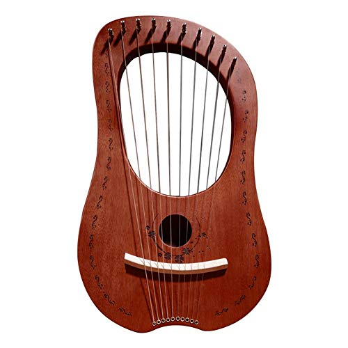 Lyra Harfe, 10 Metall Saiten Harfe, Mahagoni Tragbare kleine Lyra Harfe mit haltbaren Stahlsaiten Holz Saiten Musikinstrument