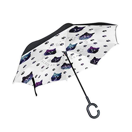 Winddichte Flower Paw Animal Pattern Katzen Footprint mit C-förmigen Griff für Auto Reverse Umbrella Patio Umbrella Outdoor Umbrella