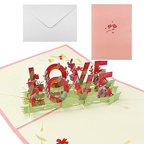 3D Pop-Up Karte mit Umschlag Dylan-EU 3D Geburtstagskarte LOVE Valentinstag-Karte für Hochzeit Geburtstag Jahrestag Thanksgiving Jubiläumsgeschenk