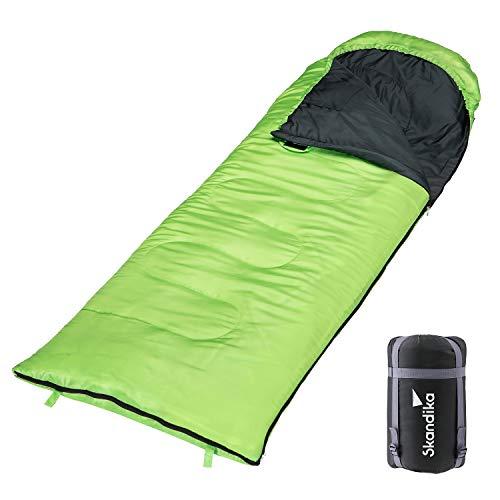 skandika Schlafsack Skye | Deckenschlafsack | Sommer-Schlafsack | Reißverschluss-Sperre | koppelbar (4 Farben) (Grün RV rechts)