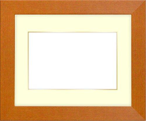 写真用額縁 1530/チーク キャビネ(180×130mm) ガラス マット付(金色細縁付き) マット色:黒