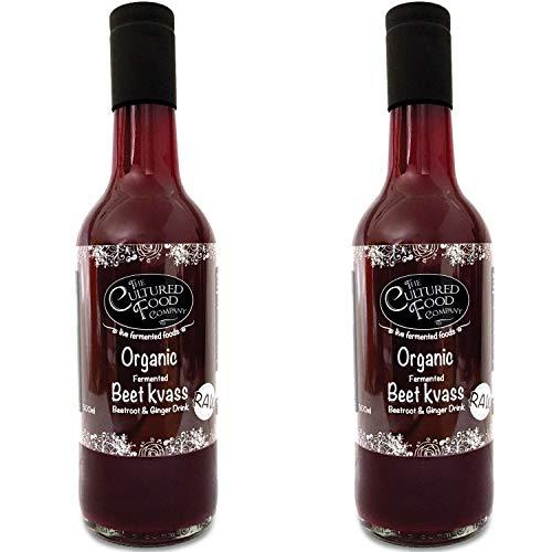 The Cultured Food Company Rote Beete Kvass 1L - Fermentiertes Getränk aus Roter Beete & Ingwer - Ähnlich Kombucha - Natürlich Probiotisch - Bio, Vegan, Unpasteurisiert - 2 x 500ml Flaschen