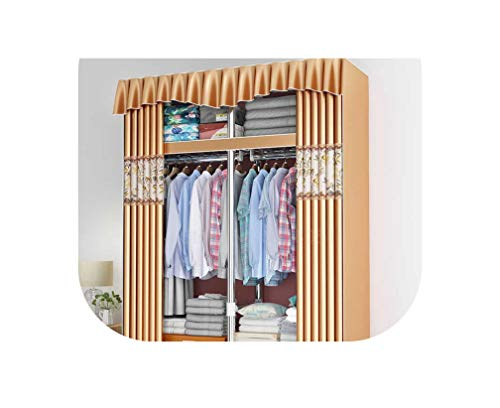Miracle day All Steel Frame Steel Tube Thick Thick Double Economy Storage Hanging Wardrobe Fabric Curtain Simple Wardrobe,Sky Blue