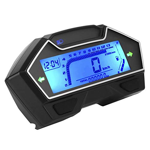 Mxzzand Velocímetro Universal 0-10000RPM 12V Instrumento de odómetro para Motocicleta