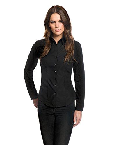 Embraer Damen Bluse tailliert 100% Baumwolle bügelfrei mit Kontrasteinlage Langarm Hemdbluse elegant festlich Kent-Kragen auch für Business und unter Pullover schwarz 36