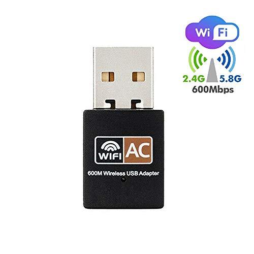 VJK USB WiFi Adapter | AC600Mbps Dual Band 2.4G / 5G Mini Wireless Netzwerkadapter für Laptop/Desktop/PC | Unterstützt Windows 7/8/10, Windows XP, Vista, Mac, Linux