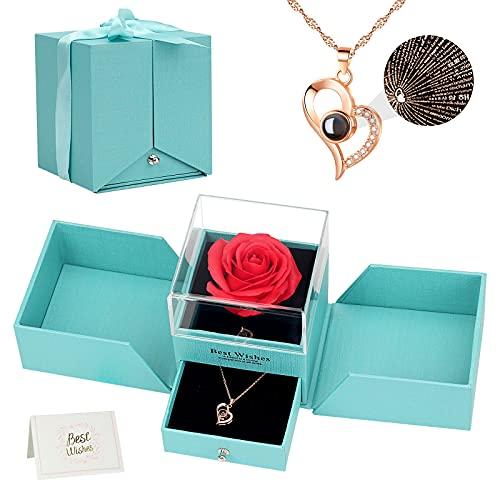 Ozrpn Juego de Rosas Eternas,Rosas de Amor,Caja de Regalo de Collar de Te Amo,Regalo de Cumpleaños Perfecto,Regalo Romántico para el Día de San Valentín,Cumpleaños,Día de la Madre,Aniversario,Navidad