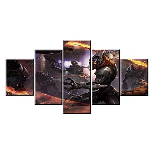 ADGUH Leinwanddrucke5 Panel Game Rolle Master Yi Spiel Leinwand Gedruckt Malerei Für Wohnzimmer Wandkunst Wohnkultur HD Bild Kunstwerke Poster5Drucke auf Leinwand