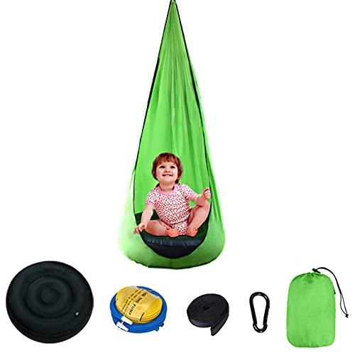 LTHTX Hamaca para niños, silla con almohada inflable, silla colgante para exteriores e interiores (verde fruta)