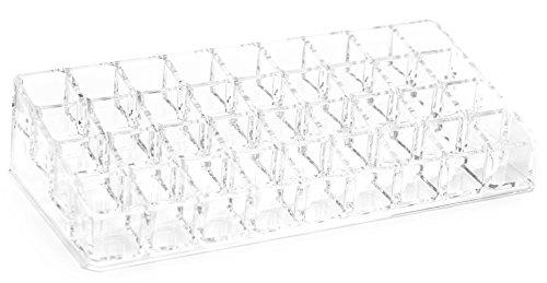FiveSeasonStuff Acrilico Trasparente Cosmetico Trucco Organizzatore per porta glitter con smalto per unghie e rossetti con 36 scomparti portaoggetti