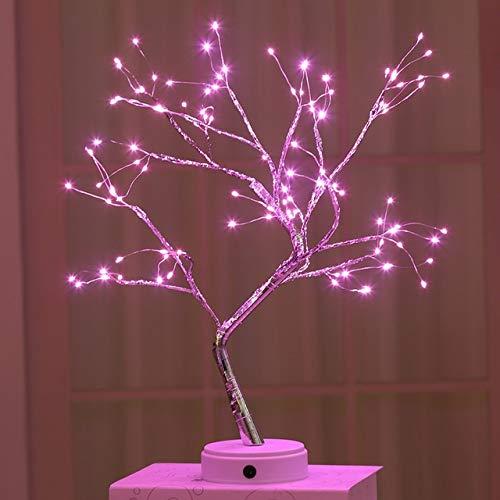 YSJSPKK Night Light LED Night Light Mini Christmas Tree Copper Wire Garland Lamp For Home Kids Bedroom Decor Fairy (Emitting Color : 108leds pink)