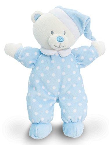 Lashuma Keel Baby Stofftier Bär Blau mit Schlafmütze, Plüschbär Teddy 22 cm