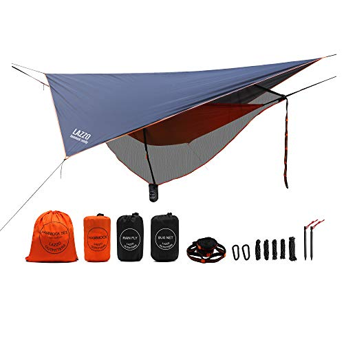 LAZZO Camping Hammock Set All-Inclusive,Single Hammock, Net,Tarp,Suspension,Stakes,Backpack, Perfect for Backpacking,Camping,Hiking & Yard (Orange, 9.2),