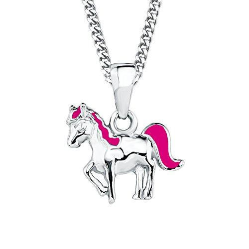 Prinzessin Lillifee Kinder-Kette mit Anhänger Pferd emailliert 925 Silber rhodiniert Emaille 38 cm - 2018177, Pink, Einheitsgröße