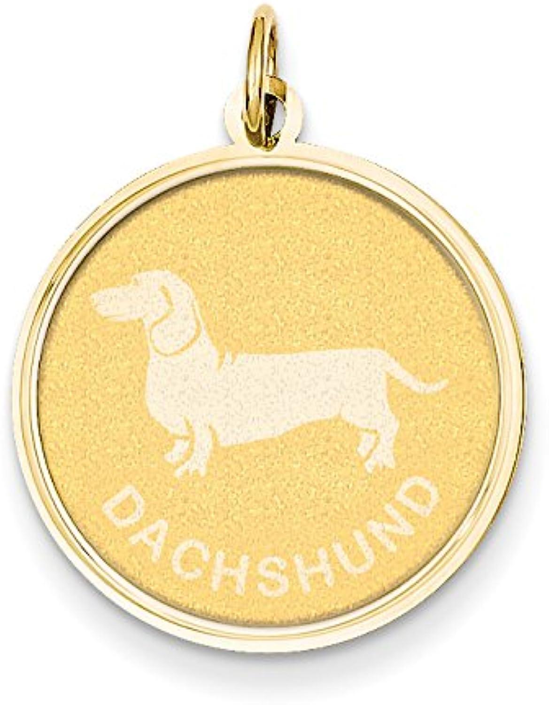 Diamond2Deal 14k Yellow gold Dachshund Disc Pendant