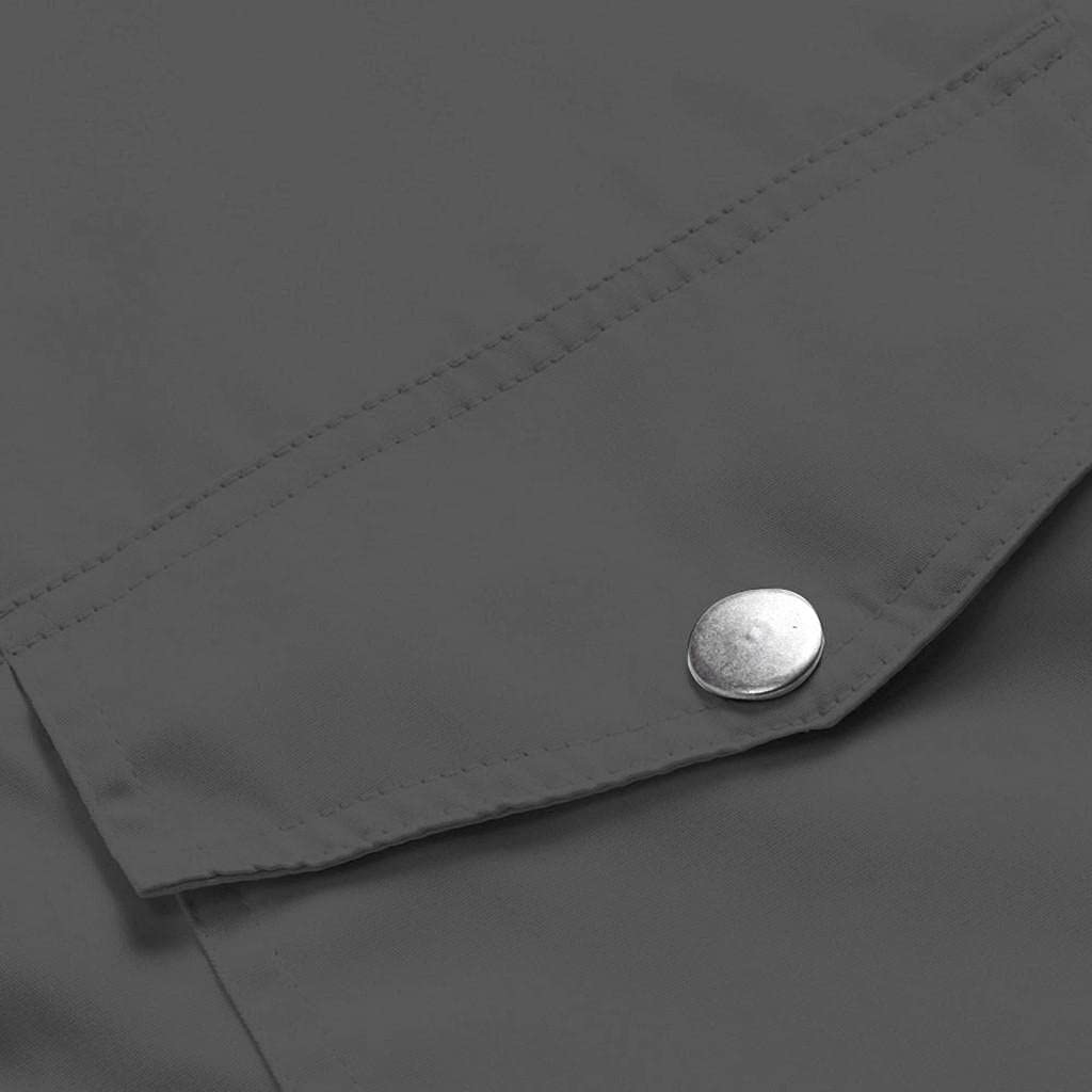 Women's Rain Jackets Plus Size Button Down Outdoor Waterproof Hooded Raincoat Solid Print Windproof Outwear with Pockets
