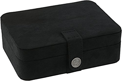 Mele & Co. Giana Plush Fabric Jewelry Box with Lift Out Tray (Black)
