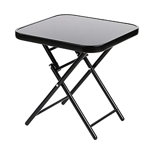 Taylor & Brown 50cm Folding Drinks Side Table, Foldable Coffee Table, Outdoor Garden Table, Small Square Patio Table - Black with Tempered Glass Top - 50x50x52cm