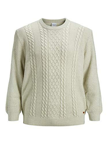 Jack & Jones JJKIM Knit Crew Neck PS Sweater, Cloud Dancer, 4XL/6XL Homme