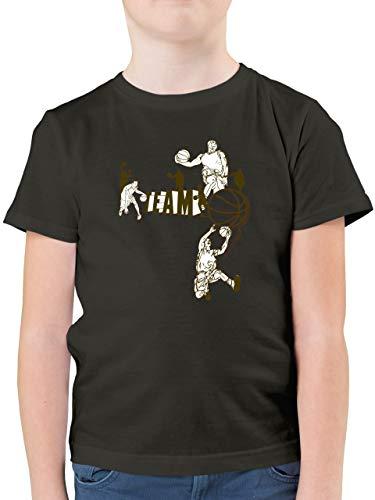 Sport Kind - Basketball Team - 164 (14/15 Jahre) - Anthrazit - Basketball Shirt Jungen 164 - F130K - Kinder Tshirts und T-Shirt für Jungen