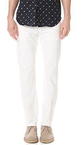 Naked & Famous Denim Men's Weird Guy Tapered-Fit Jean in White Stretch Selvedge, 28