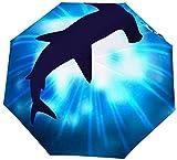 Paraguas de tiburón invertido a Prueba de Viento con Cabeza de Martillo Invertida – Paraguas Boca Abajo con Mango en Forma de C para Mujeres y Hombres – Paraguas Plegable de Doble Capa al revés