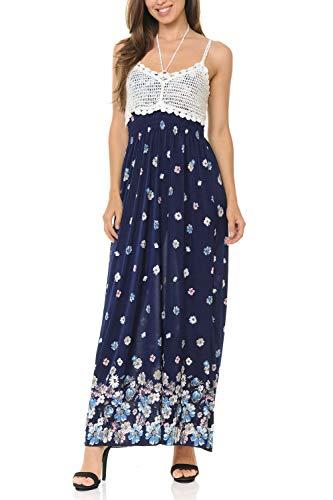 Auliné Collection Womens Crochet Lace Print Halter Strap Loose Long Maxi Dress - Pastel Daisies L/XL