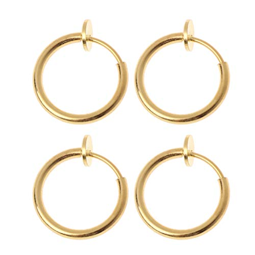 Yushu - 4 pendientes falsos con clip, anillos de nariz no perforados, clip de oreja, joyería corporal, pendientes de aro para orejas no perforadas, pendientes de aro para mujeres