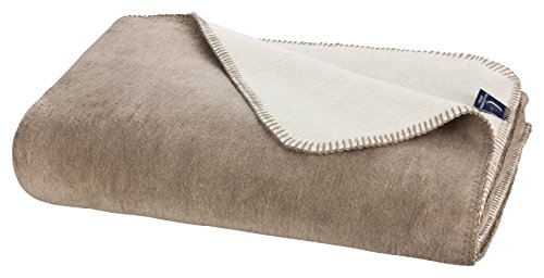 Moon Doubleface Kuscheldecke Wolldecke 150x200-beige/dunkelbeige