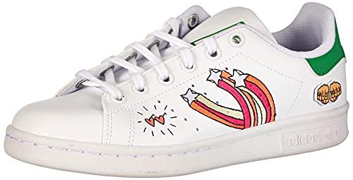 adidas Stan Smith Vegan J Patch, Scarpe da Ginnastica, Ftwr White/Ftwr White/Vivid Green, 37 1/3 EU