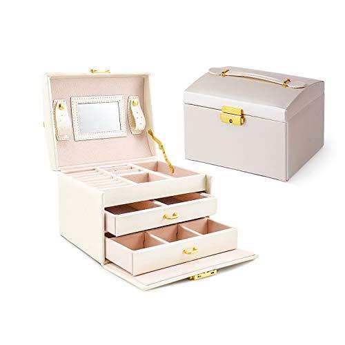 Asvert Schmuckkästchen abschließbar schmuckkoffer damen mit 2 Schubladen Spiegel PU Leder, 17 * 12 * 12.5cm (Weiß)