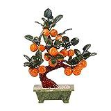 Plantas y vegetación artificiales Árbol de bonsái artificial Árbol de kumquat Plantas en maceta Decoración de interior del hogar Escritorio de bonsái artificial Talla de jade Adornos de árbol de naran