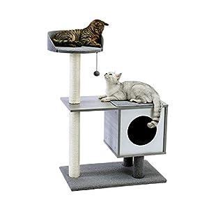 Amazon Brand – Eono Moderne Kratzbaum Hölzern Katzenkratzbaum Sisal Kratzbäume Katzenhöhle Abnehmbare Waschbare Matten… 4
