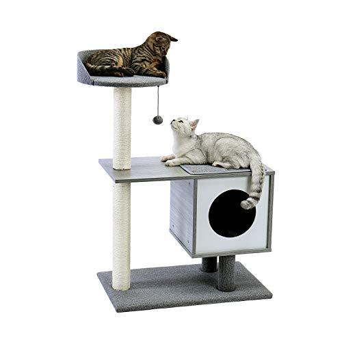 "Amazon Brand – Eono Moderne Kratzbaum Hölzern Katzenkratzbaum Sisal Kratzbäume Katzenhöhle Abnehmbare Waschbare Matten Kätzchen Möbel Grau Höhe 38"""