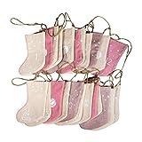 Rayher 46557000 Adventskalender Weihnachtsstrümpfe zum Befüllen, Stoff, 24 Strümpfe an Juteschnur 220 cm, rosa/creme – Töne