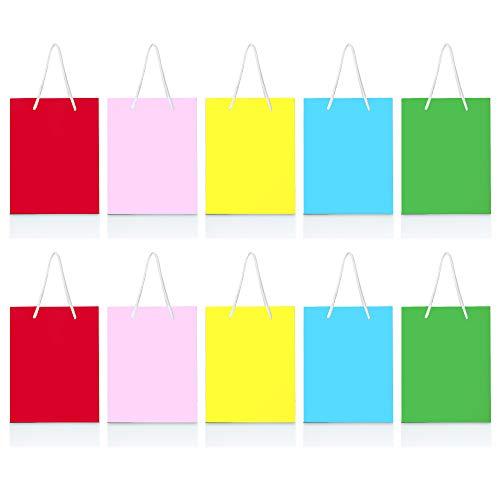 THE TWIDDLERS 25 Bolsas de Papel Kraft para Regalos | Personalizable Bolsas Pequeñas con Asa para Cumpleaños de Niños, Recuerdos de Fiesta | 15cm | Colores Vibrantes