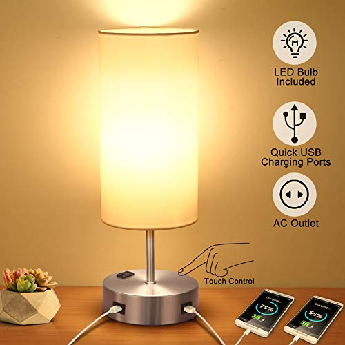Touch Table Lamp with 2 USB Charging Port, 3-Way Dimmable Bedside Nightstand Lamp for Bedroom, AC Outlet and E26 60W Edison Bulbs Included, Perfect for Desk Lamp Living Room Office Reading, Silver