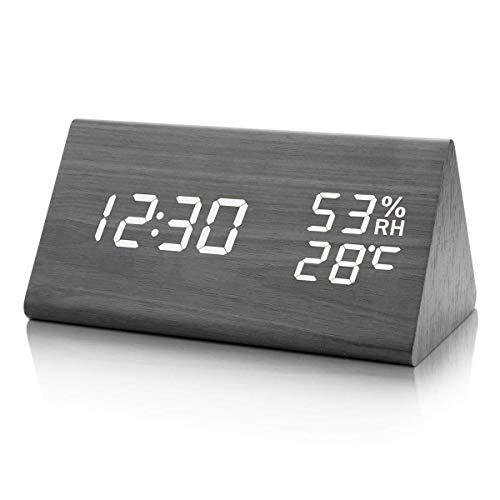 KINGTERENCE Wecker Digitaler Wecker, mit Nacht LED Datum Sprachsteuerung Uhr Holz Digitaluhr Innentemperatur 3 einstellbare Alarmgruppe, für Kinder/Schlafzimmer/Wohnzimmeruhr