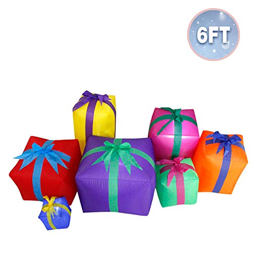JF deco Decoraciones inflables de Navidad de 1,8 m, Linterna de 7 Cajas de Regalo para Interiores al Aire Libre