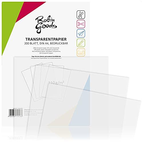 Robin Goods 200 Hojas de Papel Transparente Premium DIN A4, 110 g m², Super Calidad, imprimible, Papel Artesanal, Papel de calco, Papel pergamino, Papel de Arquitecto (200 Hojas - Transparente)