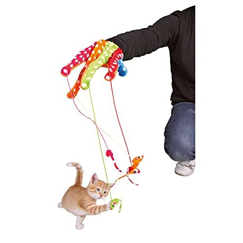 Trixie Guante Juego, con 4 Ratones Colgantes, Multicolor, Gato