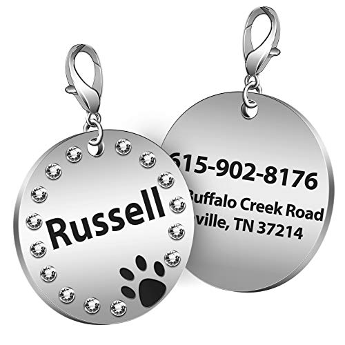 TedYoho Custom Engraved Round Pet ID Tag with Rhinestones Personalized Inlaid Crystals Cat Dog Tags Stainless Steel (Black)