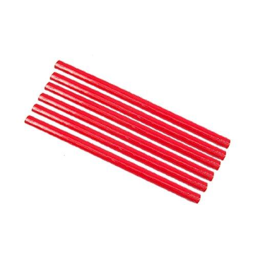 sourcing map Lápices de carpintería ovalados de madera, 6 piezas, 6.9'de largo, rojo