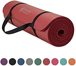 Gaiam Essentials Thick Yoga Mat Fitness & Exercise Mat with Easy-Cinch Yoga Mat Carrier Strap, Red, 72 InchL x 24 InchW x 2/5 Inch Thick